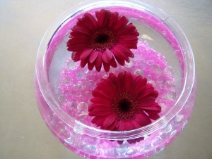 Add Flowers to Fish Bowl Table Decor