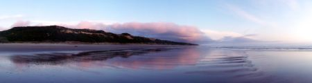Pink and Blue Panorama of Oregon Coast