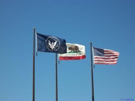 Flags outside Ronald Reagan Library