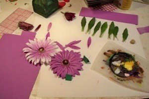 Purple Paper Daisies before adding a stem