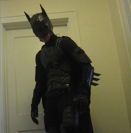 Photo of a homemade batman costume.