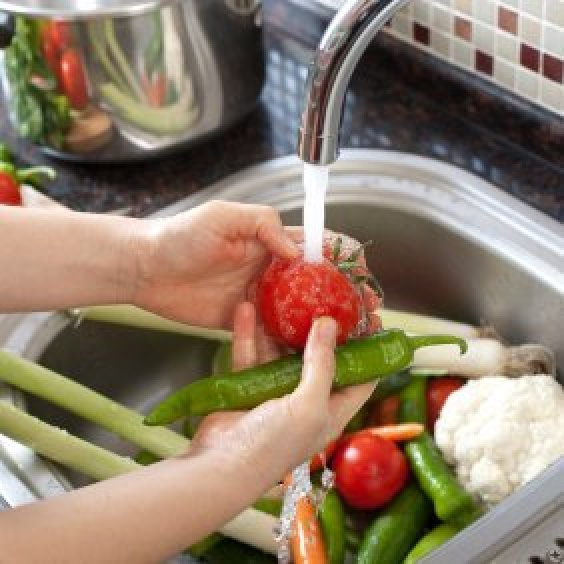 Vegetable Contains Homemade vegetable wash recipes thriftyfun vegatables being washed in a sink workwithnaturefo