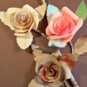 Photo of three paper roses.