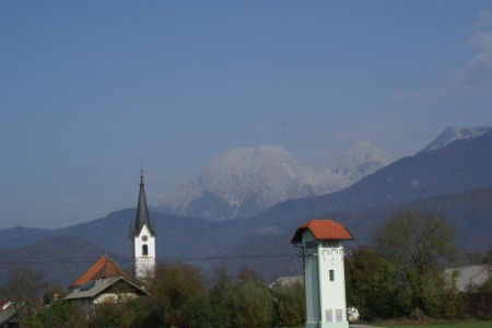 View of village skyline and mountains in Slovenia