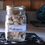 Jar of dehydrated mushrooms.