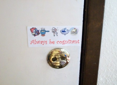 Small sign with icons over the door lock.