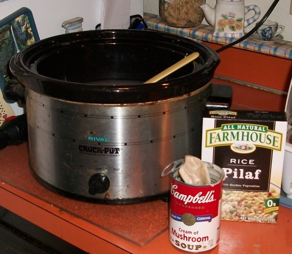Slow cooker, can on soup, and the box of rice pilaf.