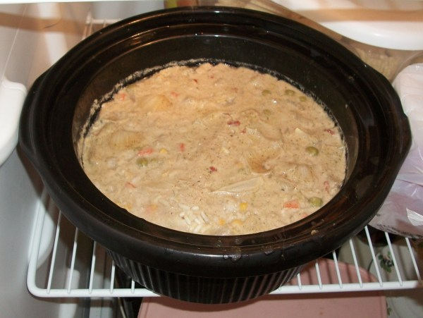Crock in the fridge after meal is cooked.