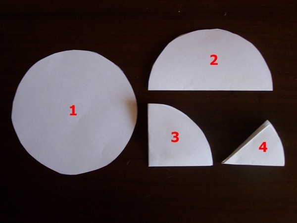 Circle of paper folded 4 times
