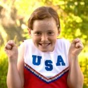 Little Girl in Cheerleader Costume
