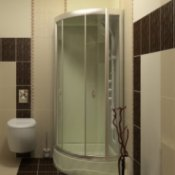 Glass shower enclosure.
