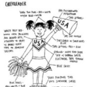 Drawing of Cheerleader Costume Parts