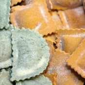 Two colors of frozen ravioli.