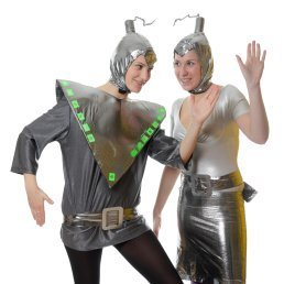 Two women in alien costumes.