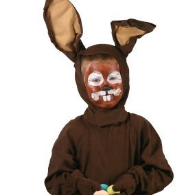 Little boy in a brown bunny costume.