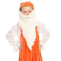 Child in an orange gnome costume.