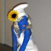 Woman in a Smurfette costume.