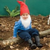 Child in a garden gnome costume.
