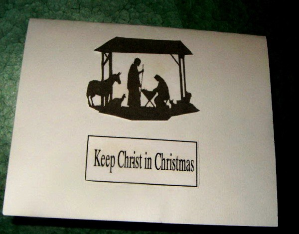 """Nativity Christmas card - Finished card with words """"Keep Christ in Christmas."""""""