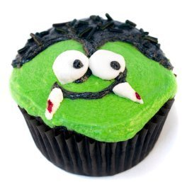 A cupcake decorated as a vampire.