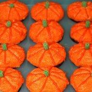 Cupcakes decorated as pumpkins.