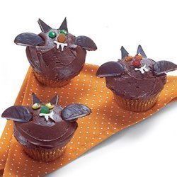 Bat cupcakes made with mint candies.