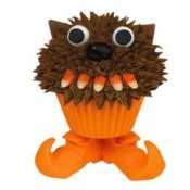 Werewolf cupcake with candy corn teeth.