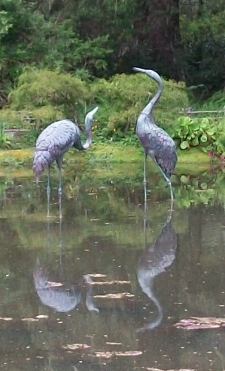 Crane Sculptures in Water