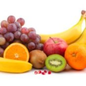 Grapes, bananas, apples, kiwis, and oranges.