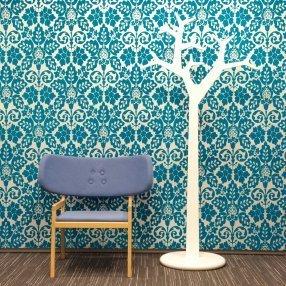 Blue and white retro wallpaper.