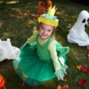 Little Girl in Homemade Frog Costume