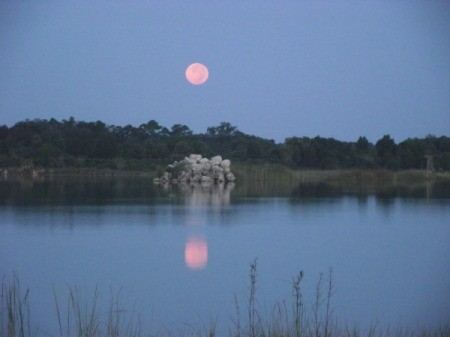 Moon Reflecting on Lake in Weekiwachee