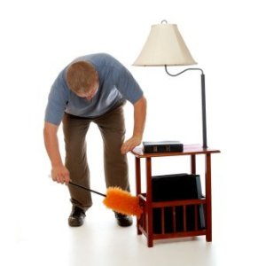 Man Dusting End Table
