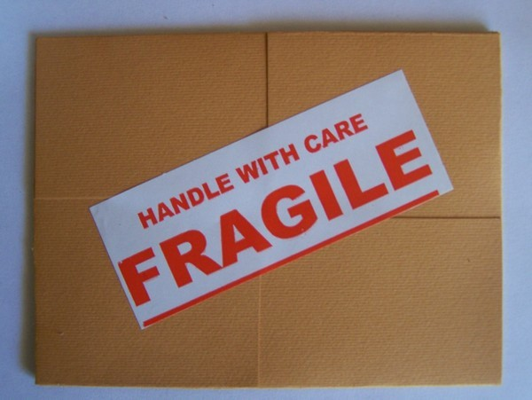 Fragile Sticker on card