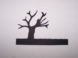 Sunset Silhouette Card - Cut out of the silhouetted tree.