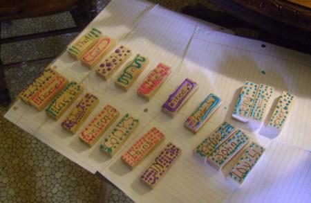 Decorated Jenga sticks.