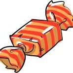 Wrapped orange and tan caramel drawing