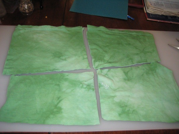 Dyed Green Fabric Cut in Quarters