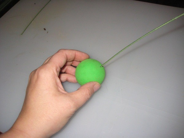 Attaching Foam Ball to Wire for Antenna