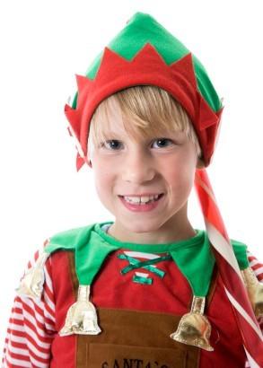 boy dressed as christmas elf