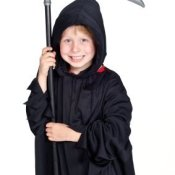 Smiling Young Boy in Death Costume