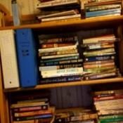 Books sorted on bookshelves.