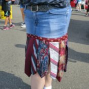 Making a Skirt With Neckties, Upclose photo of necktie and denim skirt.