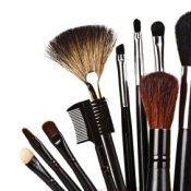 A selection of brushes used to apply makeup.