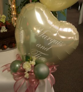 Balloon heart table centerpiece.