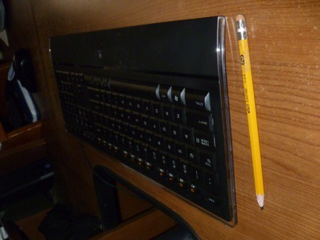 A thin keyboard, side view.