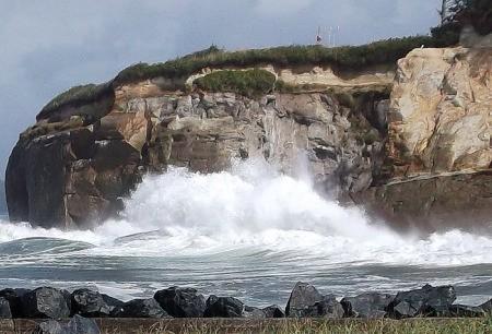 Surf Crashing Against the Rocks at Bastendorf Beach