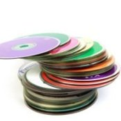 A stack of CDs or DVDs