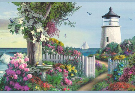 Wallpaper border with garden, white picket gate and lighthouse in the distance.