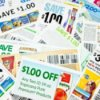 A bunch of coupons cut out of ads in the newspaper.